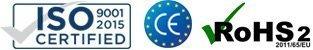 ISO 9001-2015, CE, ROHS2 2011/65/EU